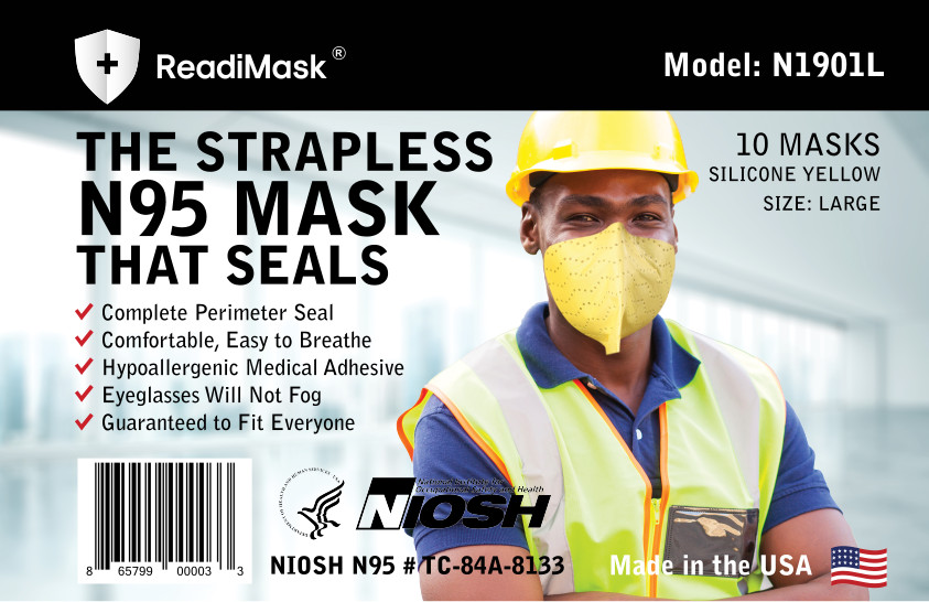 N95 Large Yellow - No Shield - 10 Pack NIOSH Approved N95 Respirators In a Resealable Plastic bag