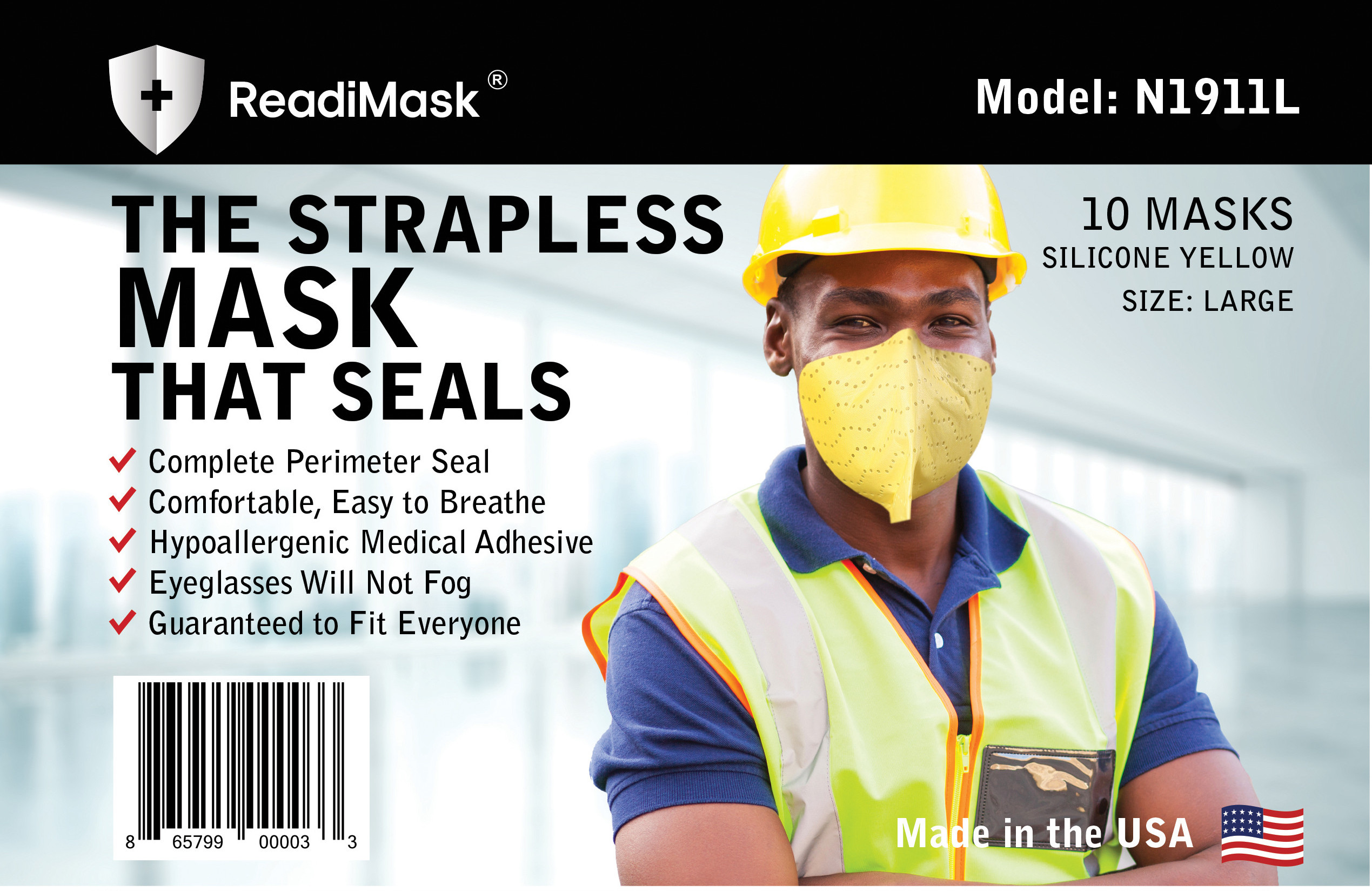 Large Yellow Adult - No Shield - 10 Pack Masks In a Resealable Plastic bag (NOT N95)