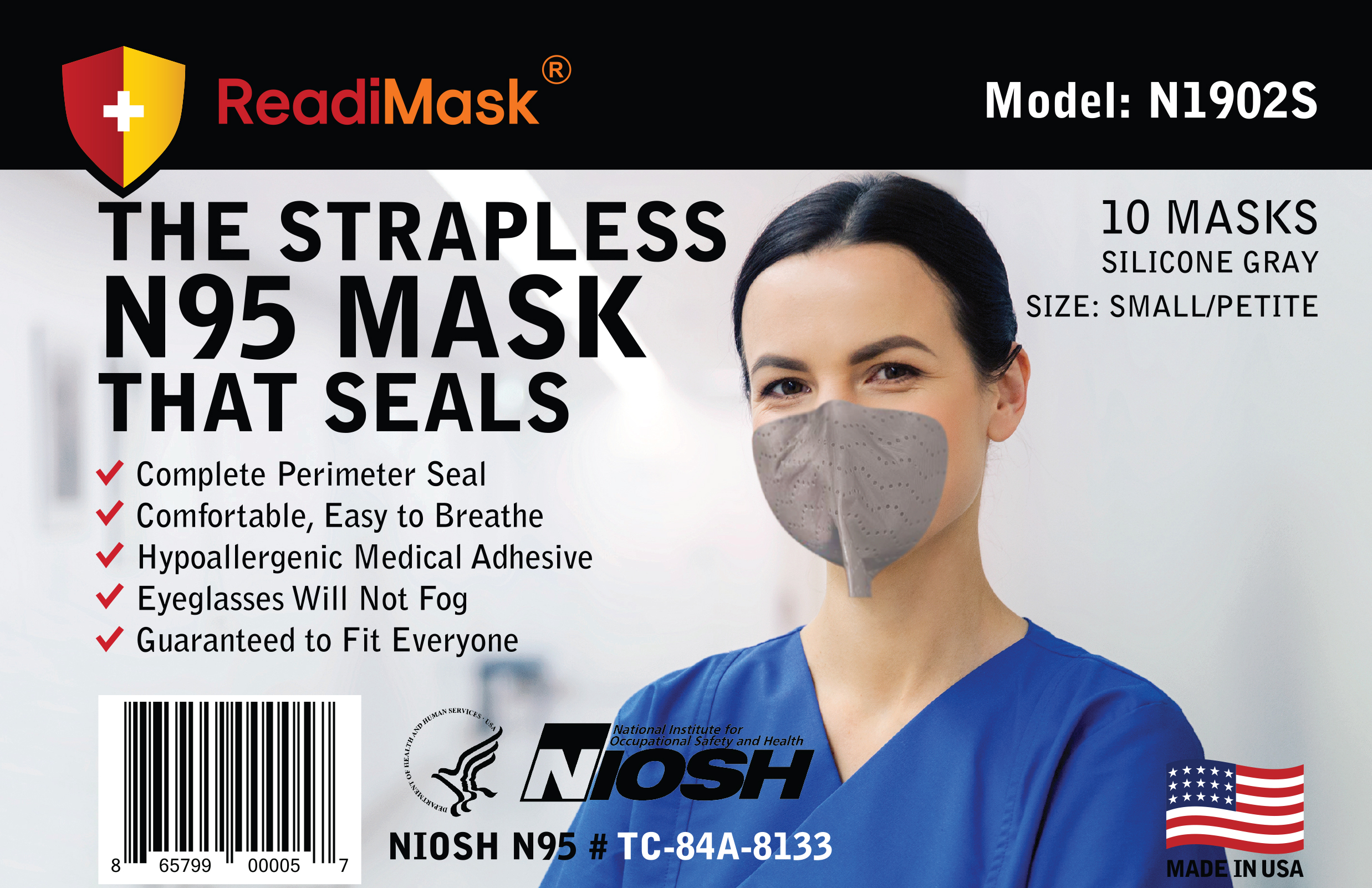 Monthly Subscription - N95 Small/Petite Gray - No Shield 10 Pack NIOSH Approved N95 Respirators
