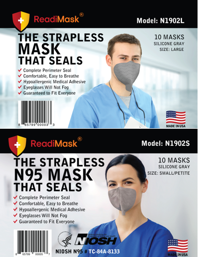 Monthly Subscription - N95 Combo Pack -  Large Gray 10-Pack AND Small/Petite Gray 10-Pack - No Shield NIOSH Approved N95 Respirators