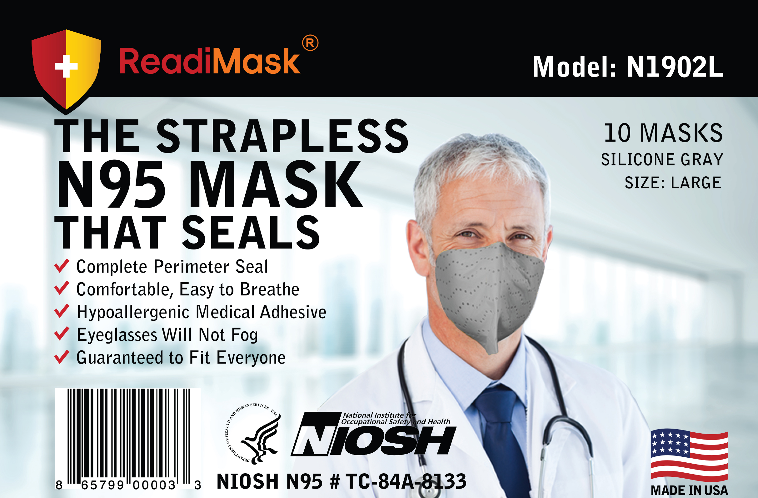 Monthly Subscription - N95 Large Gray - No Shield 10 Pack NIOSH Approved N95 Respirators